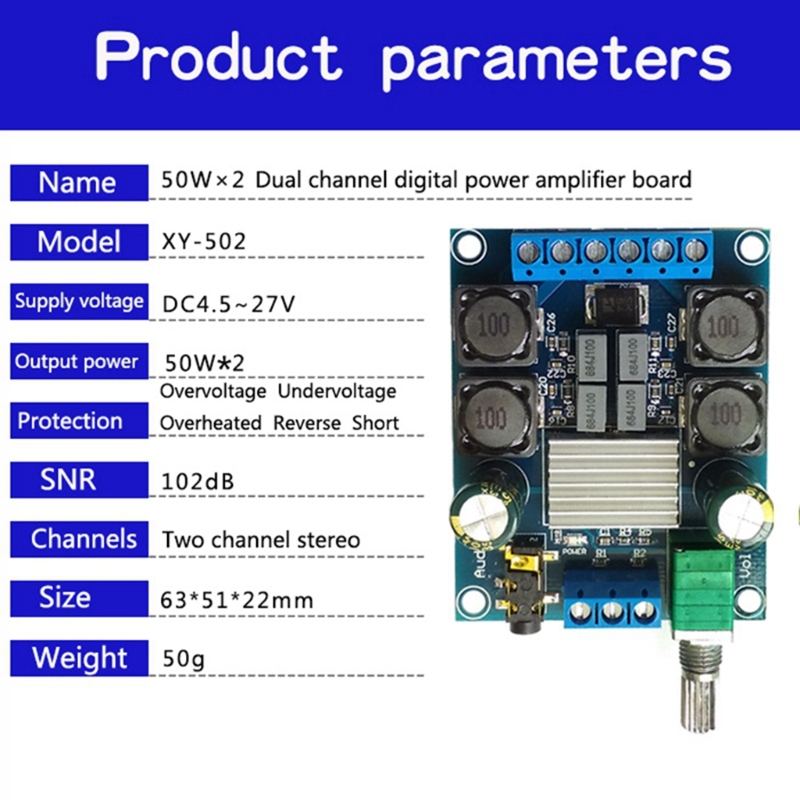Dual Channel Digital Power Amplifier Board Stereo DC4.5-27V 50Wx2 TPA3116 D2 High Quality