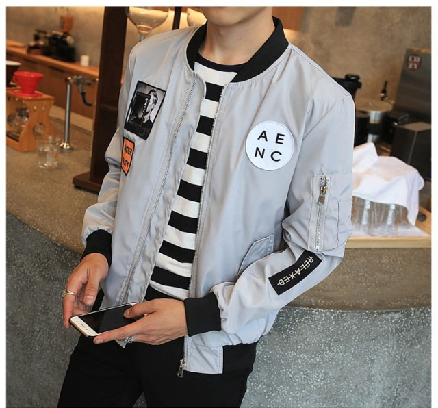 Heyguys New Men's Hip Hop Patch Design Slim Fit Bomber Jacket
