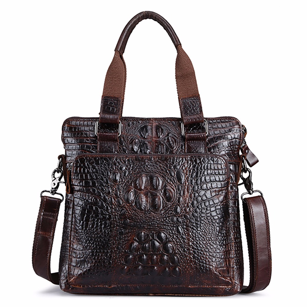 Oil Wax Genuine Leather Men Vintage Tote Handbag Crocodile Pattern Cross Body Briefcase Luxury Brand Male Business Shoulder Bag factory pirce free shipp genuine leather unisex fashion crocodile pattern handbag briefcase laptop bag 7276a