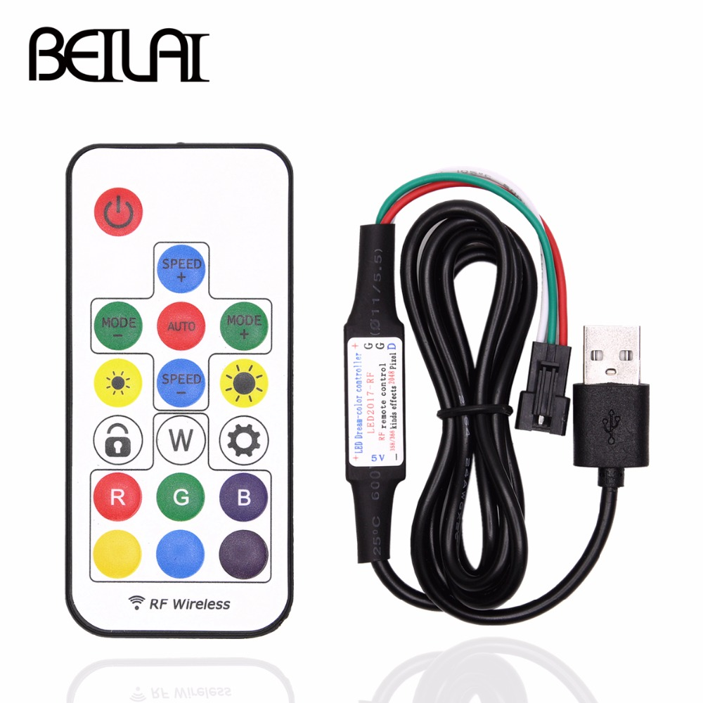 BEILAI 5V USB LED Controller 17Key SP103E RF Wireless Remote Control For WS2811 WS2812B Driver IC Colorful RGB LED Strip 5050
