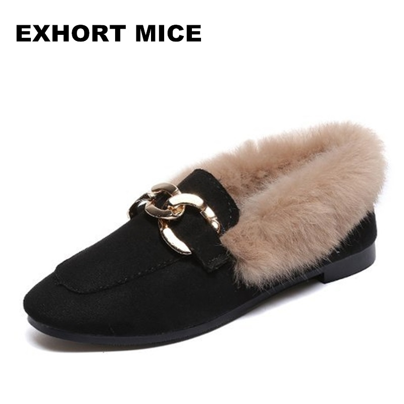 2018 Women Flats Heel Shoes Warm Fur Winter Round Toe Female Ladies Casual Slip On zapatos de mujer Shoes size 32 43 fashion women s flat shoes women slip on round toe square heel flats laies simple casual sweet lace zapatos mujer