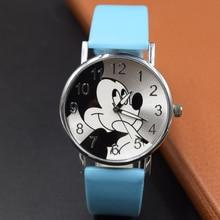 חדש נשים שעון מיקי עכבר דפוס אופנה קוורץ שעונים מקרית Cartoon עור שעון בנות ילדים שעוני יד Relogio Feminino
