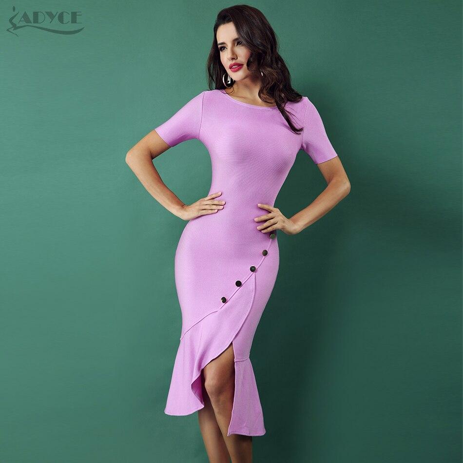 ADYCE 2019 Spring New Women Bandage Dress Violet Front Splitting Runway Short Sleeve Sequined Celebrity Bodycon