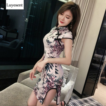 Vestido Mini Club Retro Floral con abertura estilo chino Cheongsam para mujer con cuello alto Sexy Empire Light púrpura fiesta 2019 Vestidos caliente