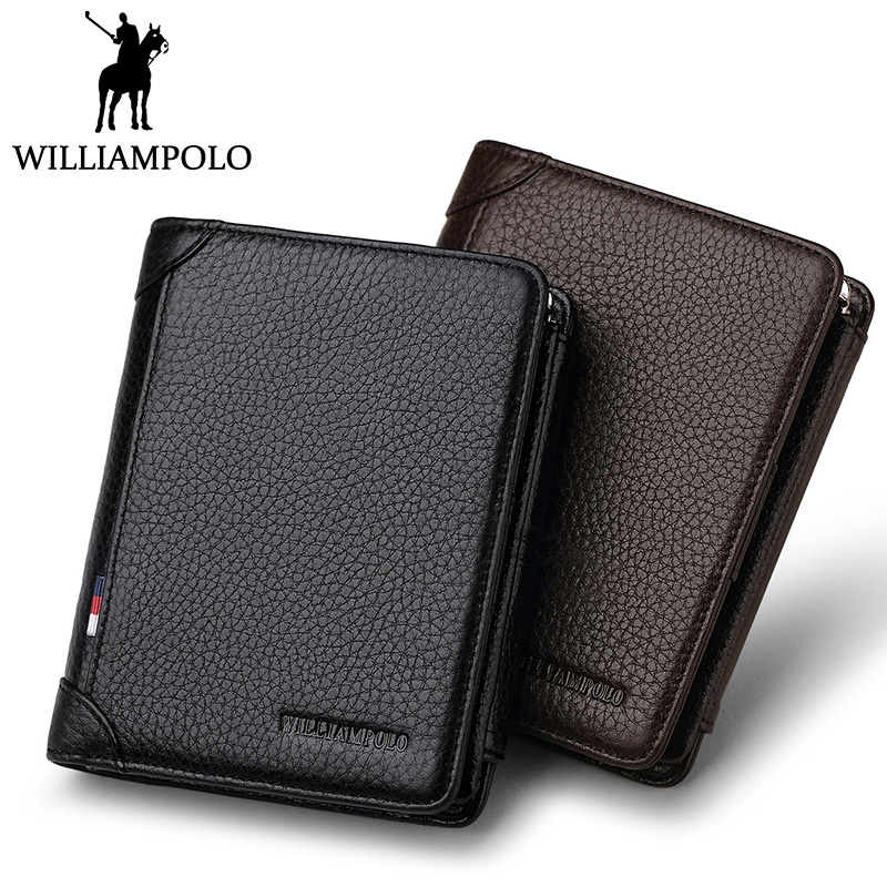WILLIAMPOLO Famous Brand Trifold Wallet Men Short Purse Card Holder Coin Pocket Zipper Pouch Small Genuine Leather Wallet Men williampolo mens zipper wallet genuine leather short purse cowhide card holder wallet coin pocket business wallets new year gift