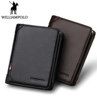 WILLIAMPOLO Famous Brand Trifold Wallet Men Short Purse Card Holder Coin Pocket Zipper Pouch Small Genuine Leather Wallet Men