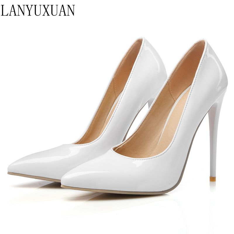 LANYUXUAN Big Size 34-47 Apricot New Fashion Sexy Pointed Toe Women  Platform Pumps High Heels Ladies Wedding  Party Shoes 8-10 qplyxco 2017 new sale ladys big size 30 47 shoes women pumps fashion sexy high heels shoes party wedding pointed toe shoes a 3