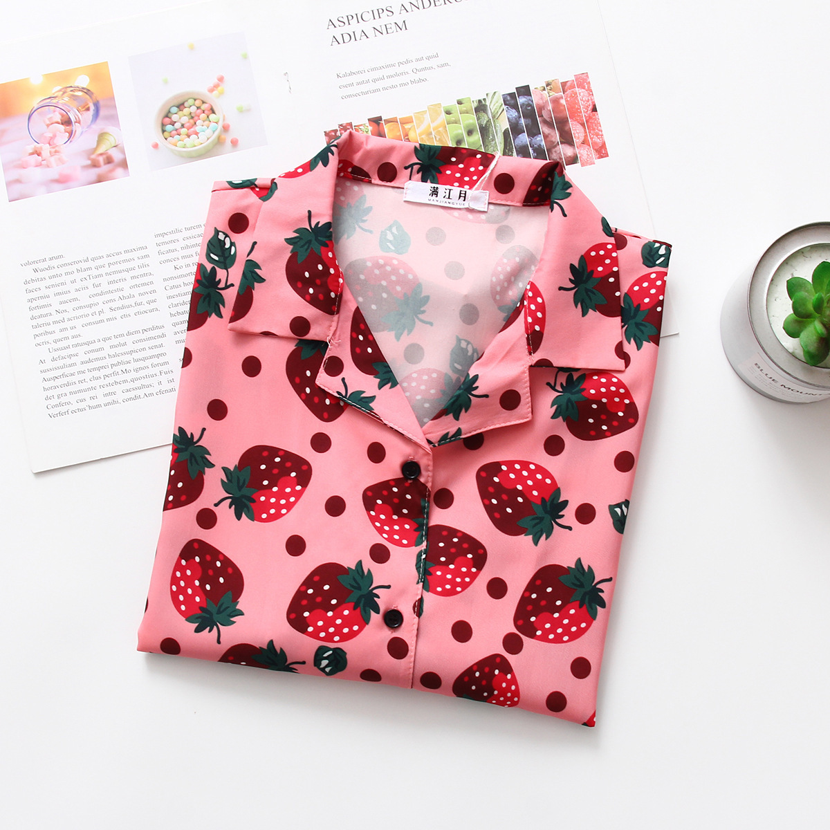 2019 New Women Fashion Short Sleeve Strawberry Print Cotton Loose   Blouses     Shirts   Summer Casual Pink   Shirts   Blusas