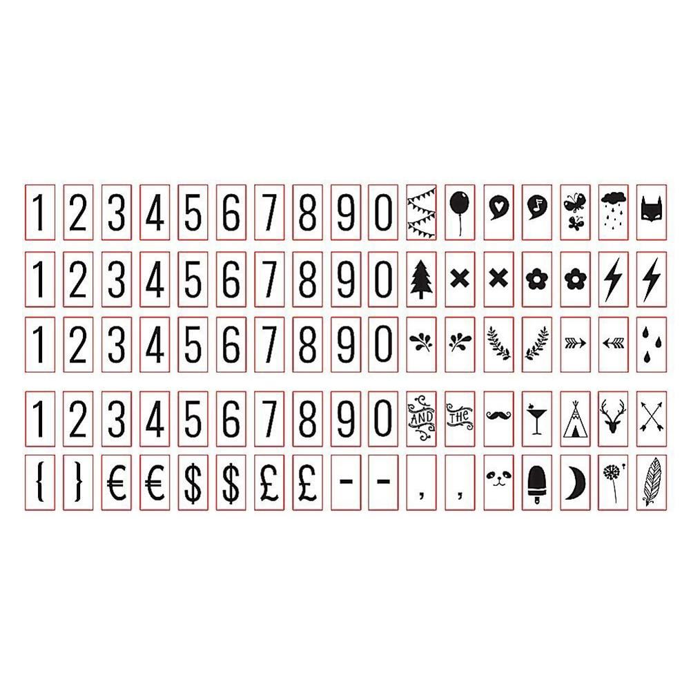 85 PCS BLACK Cinema Sign For A4 CINEMATIC LIGHTBOX Number Symbols, Glyphs Card