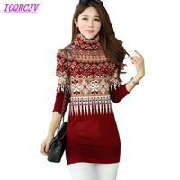 2018 Knitted Sweater Women S Autumn And Winter High Collar Printed Pullovers Plus Size Medium Length