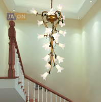 g9 led Nordic Iron Glass Lily Tulip Camellia LED Lamp LED Light.Pendant Lights.Pendant Lamp.Pendant light For Staircase Foyer