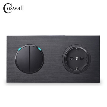 Coswall Black Aluminum Panel EU Standard Wall Socket + 2 Gang 2 Way On / Off Pass Through Light Switch Switched LED Indicator