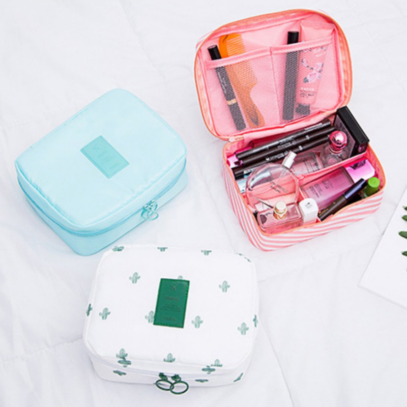 Waterproof Wash Bag Oxford Cloth Cosmetic Bag Compartment Storage Small Square Bag Outdoor Travel Supplies