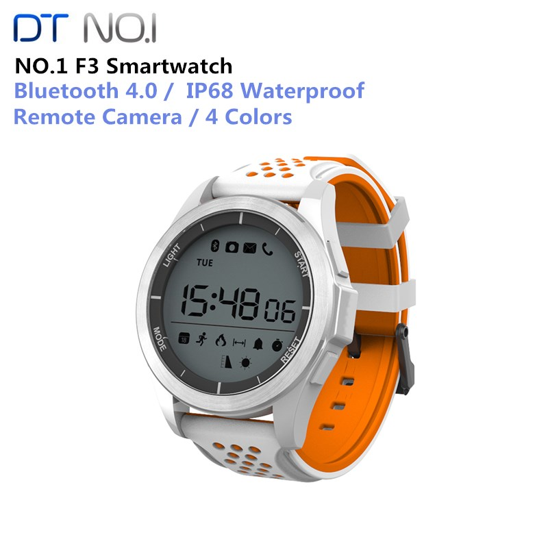 <font><b>NO.1</b></font> <font><b>F3</b></font> Bluetooth 4.0 IP68 Waterproof Sports Smart Watch Remote Camera Outdoor Mode Fitness Tracker Reminder Wearable Devices image