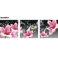 DIY Diamond Embroidery,5D Diamond painting,Diamond mosaic,needlework,Crafts,Christmas,decor Pink Lily Flower 3pcs/set BSM020