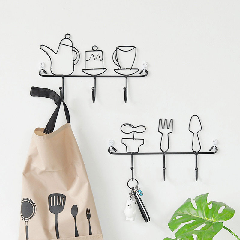 Modern Style Iron Potted Plant Kettle Shelving Hook Hat Rack Storage Home Decorative Key Coat