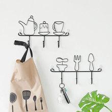 Modern Style Iron Potted Plant Kettle Shelving Hook Hat Rack Storage Home Decorative Key Coat