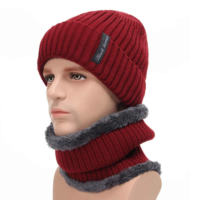 f0ec71a795d ... Fleece Lined Warm Beanie Hat Men Women Knitted Cap Winter Hat Scarf Set  High Quality Winter ...