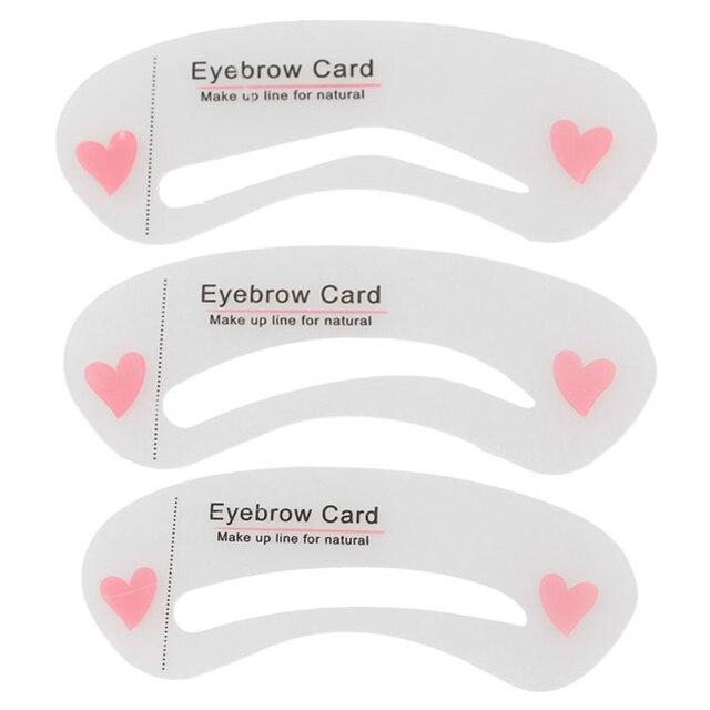 SHIDISHANGPIN 3 Pcs Eyebrow Stencils Eye Brow DIY Drawing Guide Styling Shaping Eyebrow Grooming Template Card Makeup Beauty Kit 2