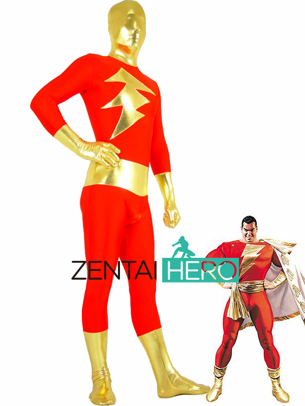 Free Shipping DHL New Shiny Metallic SHAZAM Zentai Suit Red And Gold Captain Marvel Super Hero Cosplay Halloween Costume PS007