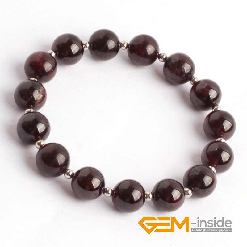 Natural Garnet Beads Bracelet 6mm To 12mm Stone Diy Jewelry For Woman Gift Free Shipping In Charm Bracelets From