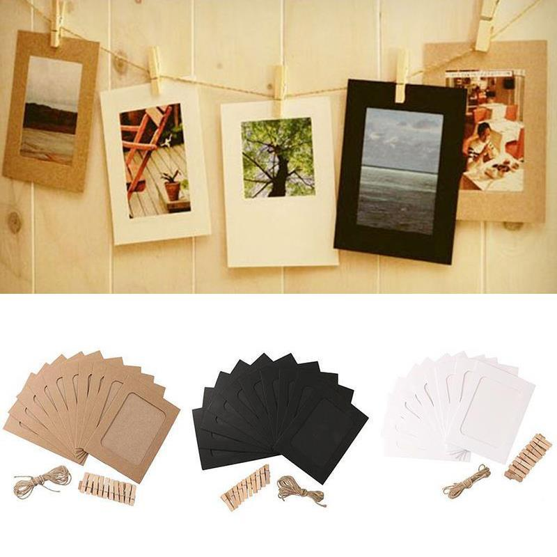 10Pcs Paper Photo Frame Halloween Decoration Clip & Rope Wedding Decoration Bachelorette Party Supplies New Year Christmas