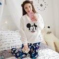 Invierno Primavera Mickey Mouse Algodón Materinty pijamas pijamas de Maternidad a cuadros de Manga Larga ropa de dormir de enfermería para Las Mujeres Embarazadas
