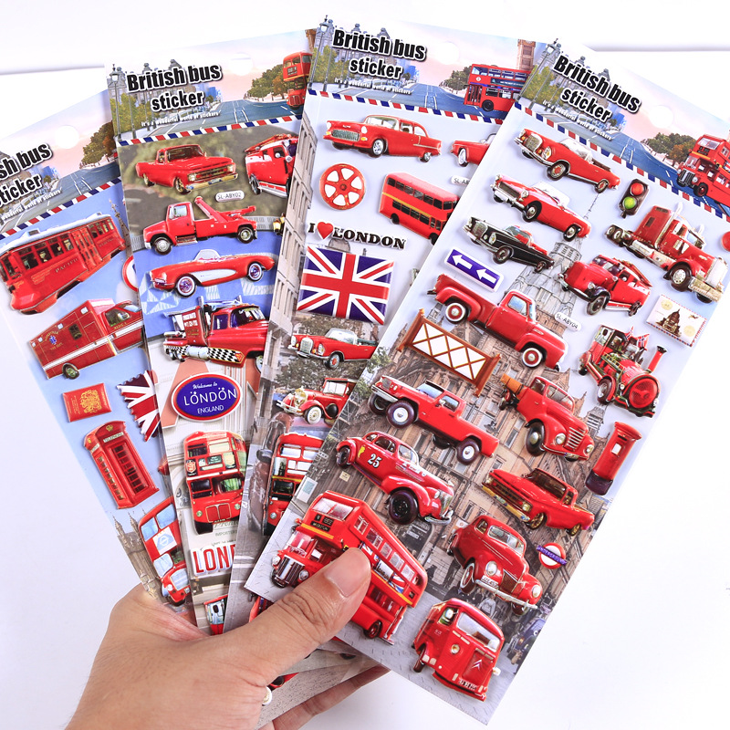 England British Transport London Bus 3D Decorative Stickers Scrapbooking Stick Label Diary Stationery Album Stickers