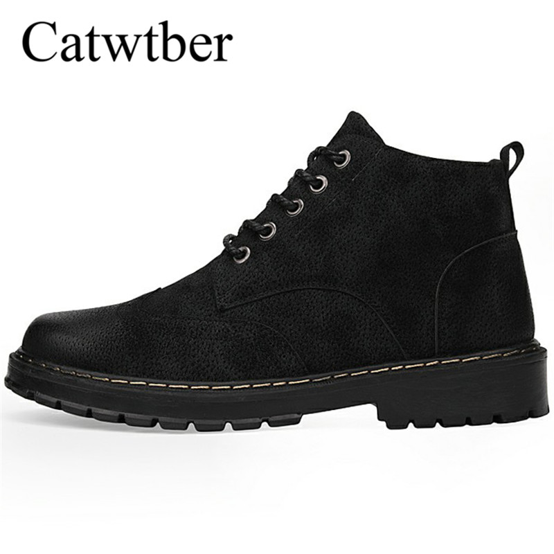 Catwtber High Quality Leather 2018 Hot Sale Spring Autumn Lace-Up Men's Shoes Man Casual Ankle Boots Fashion Leather Shoes