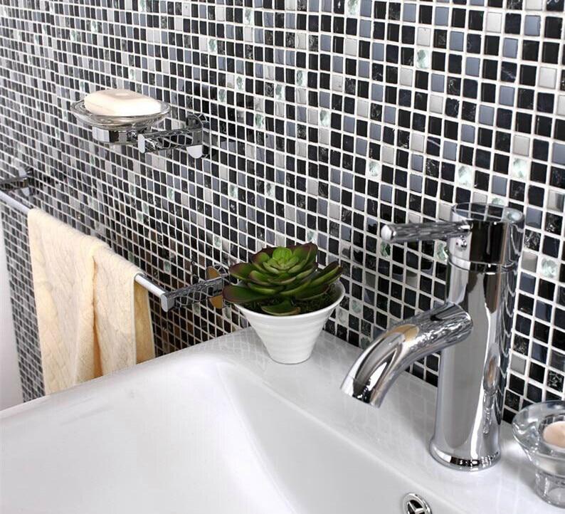 stein glas mischung kche backsplash fliesen marmor edelstahl riss wirkung kristall quadrat mosaik glas bad wandfliese - Mosaik Flie
