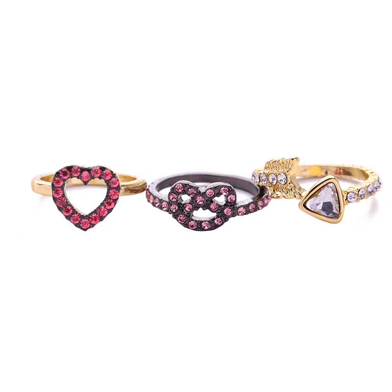 3 PcsSet Hollowed Crystal Arrow Heart Ring for Women Aliexpress Trendy Cute Finger Ring Accessories