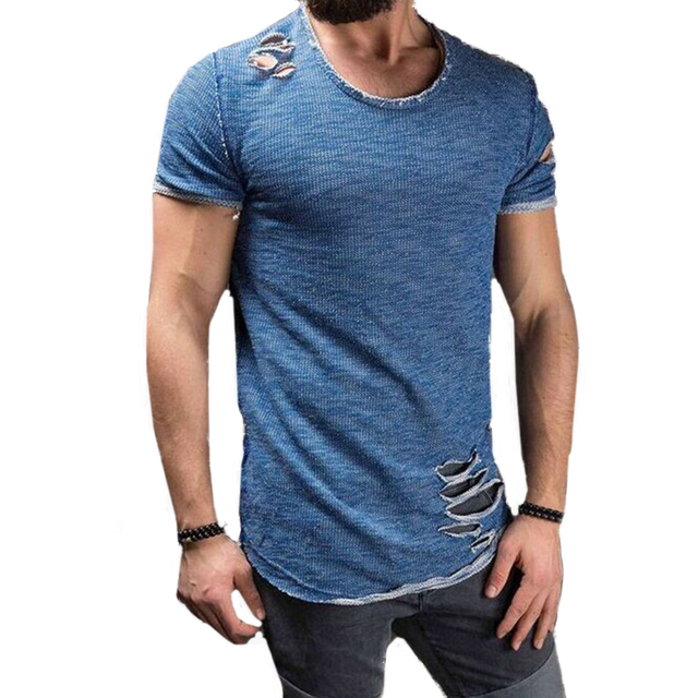 5a9b3195112 2018 Fashion Summer Top Ripped Clothes Men Tee Hole Solid T-Shirt Slim Fit  O Neck Short Sleeve Muscle Casual Jersey Tops T Shirt