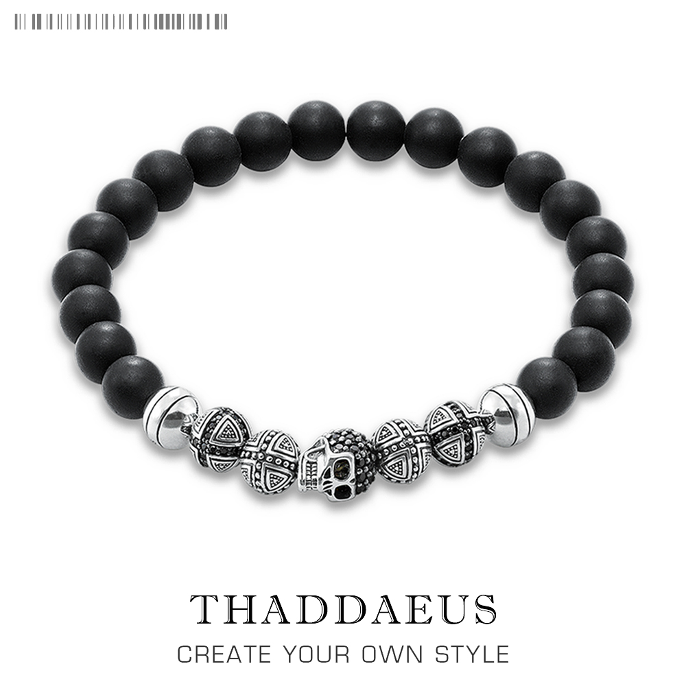 Skull Cross Bead Bracelet,Thomas Style Rebel Fashion Punk Jewerly For Ts Men And Women,2017 Beads Silver Obsidian Gift Heart
