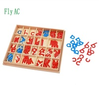 1 Set Baby Toy Montessori Wood Small Movable Alphabet Red & Blue with Box Preschool Early Children