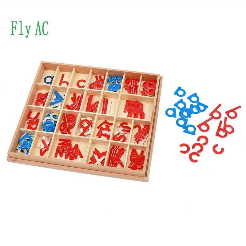 1 satz Baby Spielzeug Montessori Holz Kleine Bewegliche Alphabet Rot & Blau mit Box Vorschule Früh Kinder