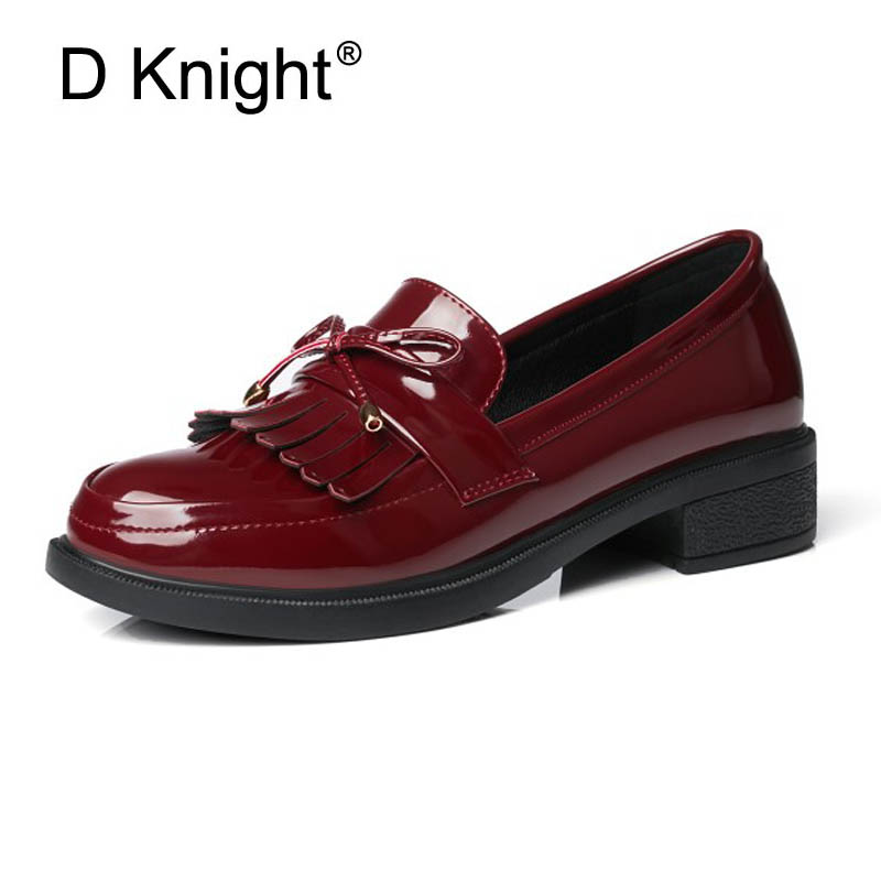 Plus Size 33-43 Women Loafers Sweet Bow Tassels Decoration Women Causal Oxford Shoes British Patent Leather Oxfords Shoes Woman