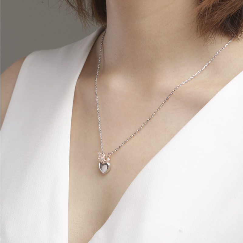 SA SILVERAGE Heart Crown Pendants Necklaces For Women Fine Jewelry Rose Gold Color 925 Sterling Silver Necklaces With Zircon