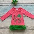 Bebé niñas St Patrick vestido niños vestido de amor Trébol con verde volantes de encaje vestido de los niños de St Patrick day party vestido con arcos