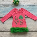 baby girls St Patrick dress kids love Shamrock dress with green lace ruffle dress children St Patrick day party dress with bows