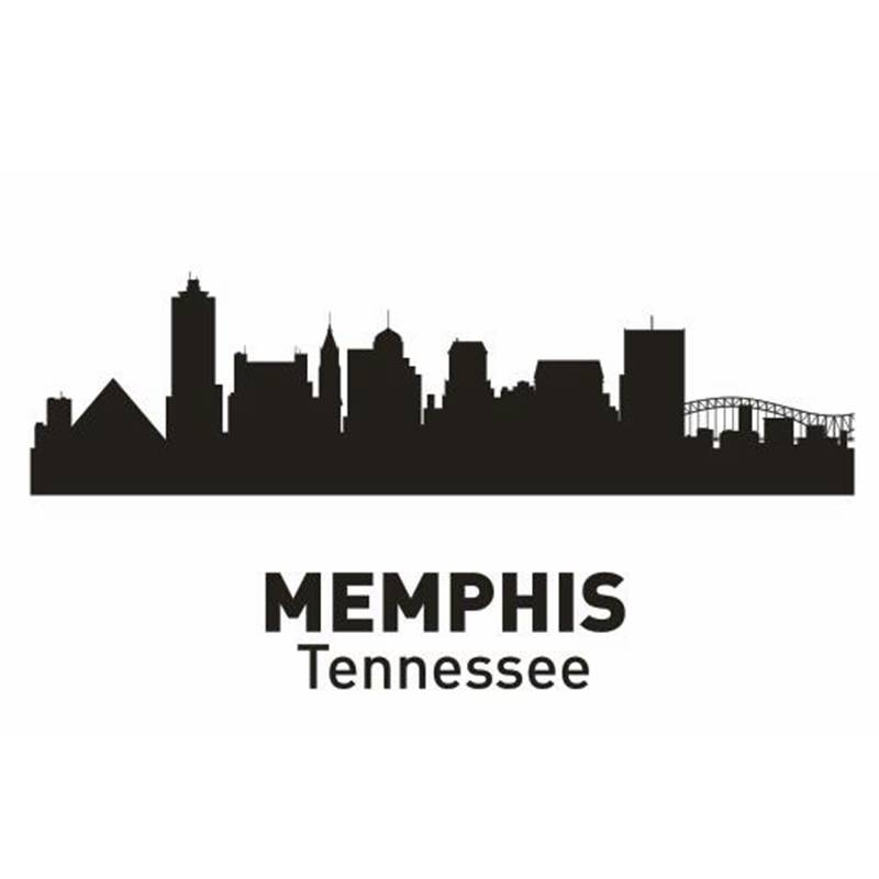MEMPHIS City Decal Landmark Skyline Wall Stickers Sketch Decals Poster Parede Home Decor Sticker