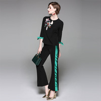 2017 Fashion Autumn Women 2 Pieces Pants Set High Quality Runway Twin Sets Casual Embroidery Top
