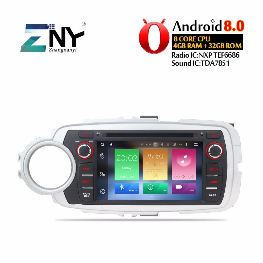 7 ips Android 8,0 Автомобильный DVD стерео 2 Din Авто Радио для Toyota Yaris 2017-2012 gps навигация 8 Core 4 Гб оперативная память бесплатная резервная камера