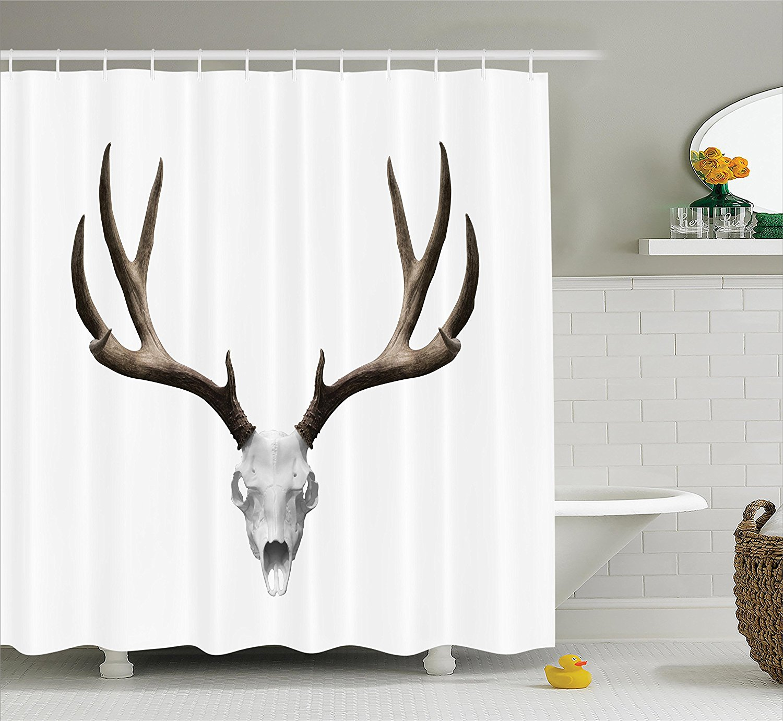 Antlers Decor Shower Curtain Set A Deer Skull Skeleton Head Bone Halloween Weathered Hunter Collection Bathroom Accessories