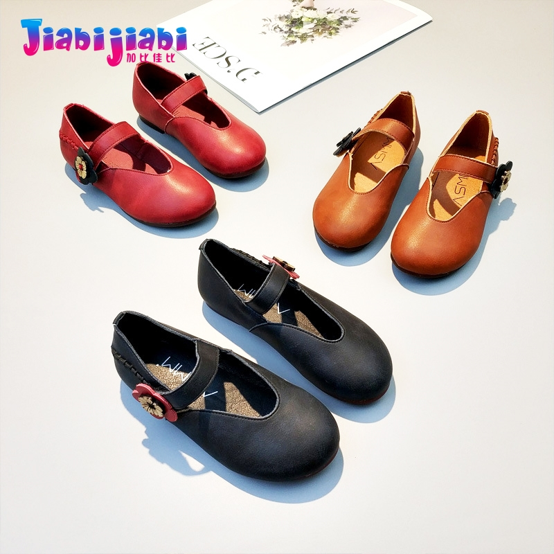 3-12T New Autumn Girls Flowers Princess Dress Shoes Flats Maiden Single Shoes Toddler Kids Frail Fashion Real Leather Shoes 1801