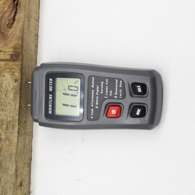 EMT01 0-99.9% de dos pines Digital madera humedad medidor de humedad probador higrómetro madera húmeda Detector pantalla LCD de gran tamaño