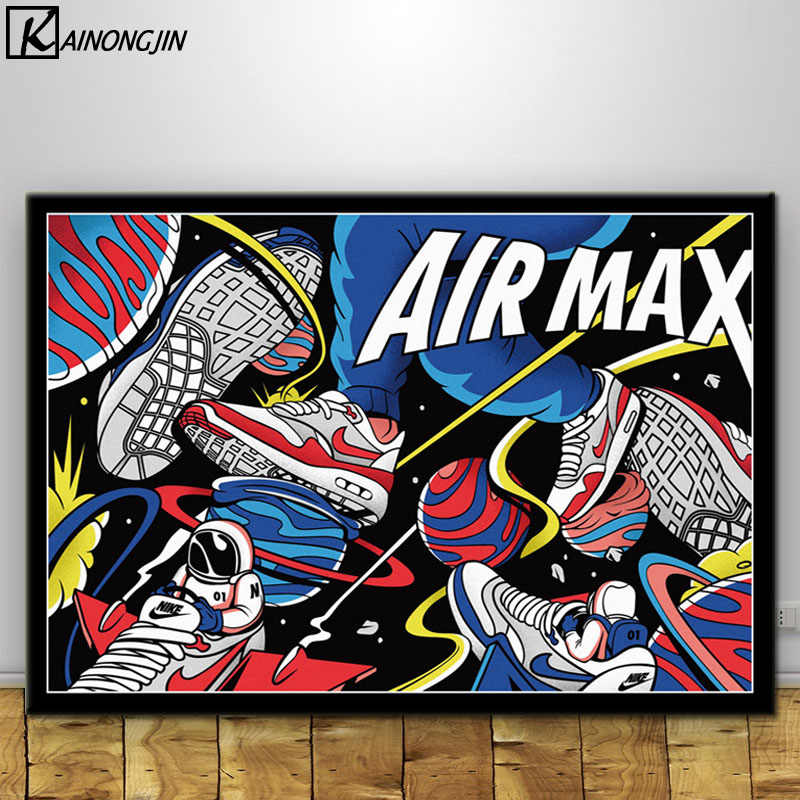 Poster And Prints Hot Michael Jordan Shoes Air Max Sneaker History Wall Art Painting Canvas Pictures for Room Home Decoration
