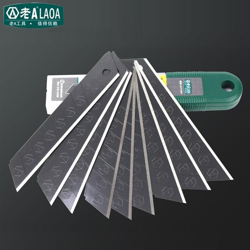 LAOA 9MM 18MM Blade (10 blade) utility knife Super sharp All Black SK2 Alloy Steel blade Office Supplies цены