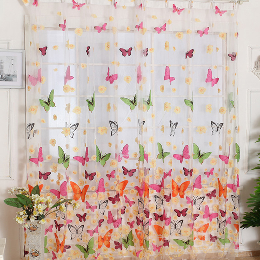 Butterfly Window Curtains For Living Room Bedroom