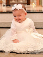 White Lace Baby Girls Long Sleeve Christening Gown with Bow Knee Length Infant Girls Boys Baptism Dress