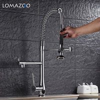 LOMAZOO Kitchen Faucet Bathroom Sink Faucet Adjustable Extendable Rotatable Waterfall Faucet Single Handle Brass Rotate mixer